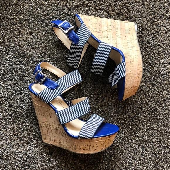 Blue White Striped Cork Heel Wedges